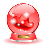 Two red heart. Inside the ball on a white background Royalty Free Stock Photos