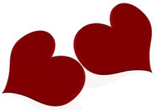 Two red heart Stock Photography