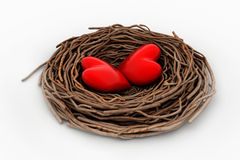 Two red heart in a bird nest Stock Photo