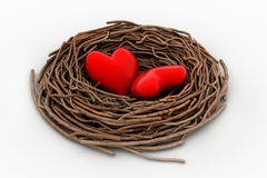 Two red heart in a bird nest Stock Photography