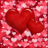 Two red heart on bokeh background Stock Image
