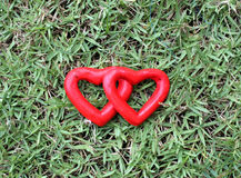 Two red heart on the grass Stock Image