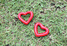 Two red heart on the grass Stock Photo