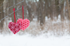 Free Two Red Heart Hanging On The Tree Bench Snow Background Stock Photography - 65042992