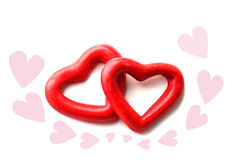 Two red heart isolate Stock Photo