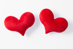 Two red heart made of fur Royalty Free Stock Image