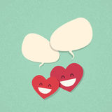 Two Red Heart Shape Love Couple Chat Stock Photo