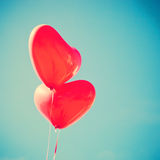 Two red Heart-shaped balloons Stock Photography