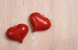 Two red heart shapes Royalty Free Stock Image