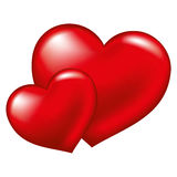 Two red heart,  symbol of love Royalty Free Stock Images