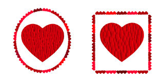 Two red heart,  symbol of love, excellent vector element for your design on Valentine's Day. Stock Image