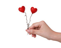 Two Red heart in woman hand Royalty Free Stock Photos