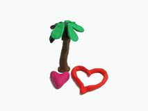 Two red hearths made from plasticine Royalty Free Stock Image