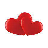 Two red hearts. Two red glossy hearts on white Royalty Free Stock Image