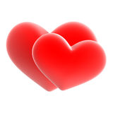 Two red hearts. Two red Valentine day hearts Stock Photo