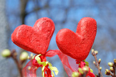 Two red hearts. Photo of two decorative red hearts Stock Photos