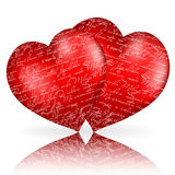 Two red hearts with Royalty Free Stock Images