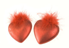 Two red hearts. Isolated on the white Stock Photo