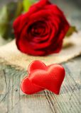 Two red hearts. Stock Photo