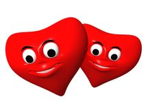 Two red hearts. 3D render Maya mental ray vector illustration