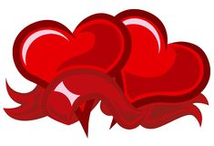Two red hearts. Without gradients Royalty Free Stock Image