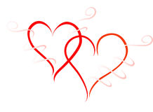 Two red hearts. In love Royalty Free Stock Photos