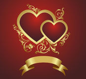 Two red hearts. Two red hearts on a vegetative ornament. Vector illustration Royalty Free Stock Photo