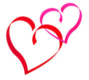 Two red hearts. Two contour hearts of red and pink band. Isolated over white Royalty Free Stock Photo