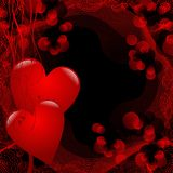 Two red hearts. On abstract red background Stock Photography