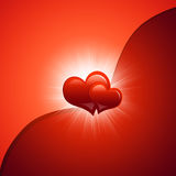 Two red hearts. Abstract background Royalty Free Stock Photo