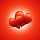 Two red hearts. Abstract background Royalty Free Stock Photography