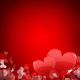 Two red hearts. Abstract background Stock Images