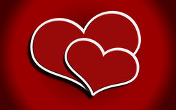 Two red hearts Stock Photo
