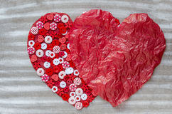 Two red hearts on background. Royalty Free Stock Photos