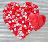 Two red hearts on background. Stock Photography