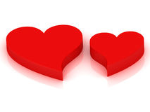 Two red hearts beating in rhythm Stock Photo