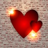Two red hearts on a beige background from the words of love. Royalty Free Stock Image