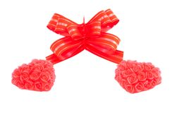 Two red hearts and bow Stock Photo
