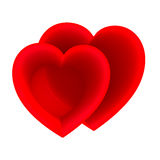 Two red hearts concept Royalty Free Stock Image