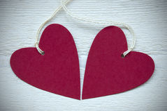 Two Red Hearts With Copy Space Frame Royalty Free Stock Photos