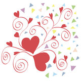 Two red hearts. With curly pattern for Valentines Day Royalty Free Stock Images