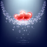 Two red hearts and flower branch Stock Photos