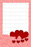 Two red hearts and four hearts in front of them Stock Photo