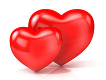 Two red hearts. Front view Royalty Free Stock Images
