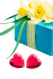 Two red hearts with a gift box and flowers Stock Photo