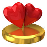 Two red hearts on gold podium Stock Images