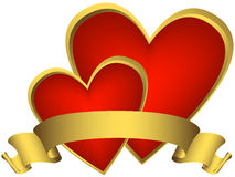 Two red hearts with golden ribbon Royalty Free Stock Images