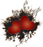 Two Red Hearts on Grunge Background Vector Stock Image
