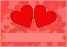 Two red hearts on a heart background Royalty Free Stock Images