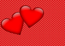 Two red hearts on a heart background Stock Photos